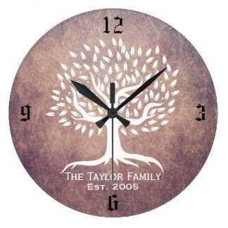 Vintage Tree Family Established Family Name Grunge Large Clock