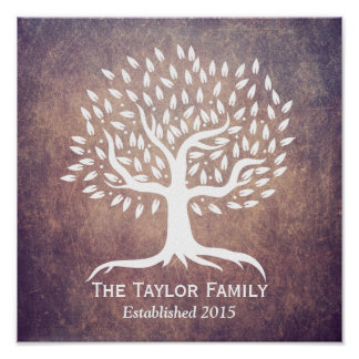 Vintage Tree Family Established Family Name Poster