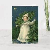 Vintage Tree Farm Girl Holiday Card