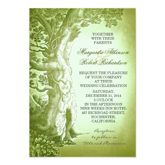 Vintage Tree Green Rustic Wedding Invitations