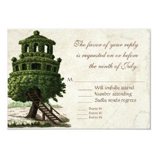 Vintage Tree House Fun Antiqued Parchment Wedding Card
