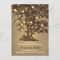 Vintage Tree Lights Rustic Save The Date Invites