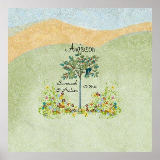 Vintage Tree Love Bird Wedding Guest Best Wishes Poster