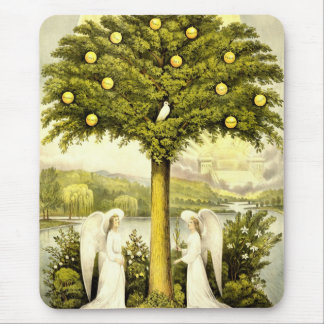 Vintage Tree of Life Christian Illustration 1892 Mouse Pad