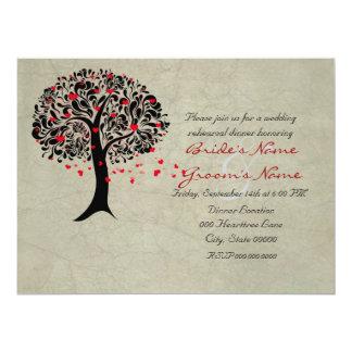 Vintage Tree of Red Hearts Wedding Invitations