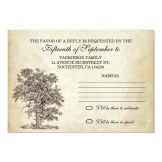 vintage tree old rsvp for wedding design card