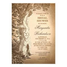vintage tree old rustic bridal shower invitations
