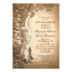 vintage tree old rustic engagement party invites