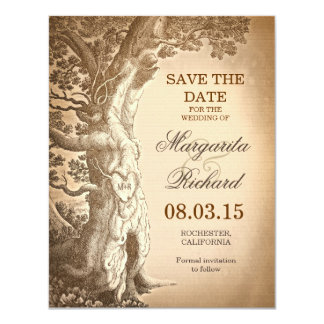vintage tree old rustic save the date cards