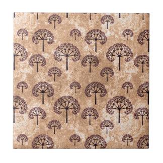 Vintage Tree Pattern Small Square Tile