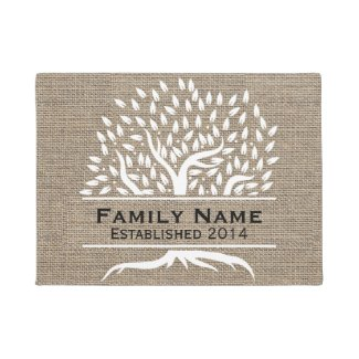Vintage Tree Rustic Burlap Family Name Established Doormat