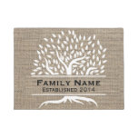 Vintage Tree Rustic Burlap Family Name Established Doormat at Zazzle