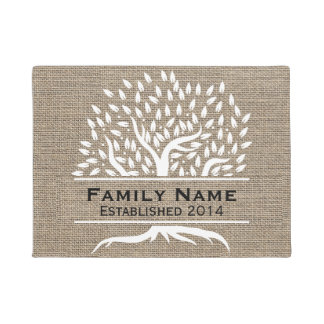 Vintage Tree Rustic Burlap Family Name Established Doormat