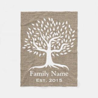 Vintage Tree Rustic Burlap Family Name Established Fleece Blanket