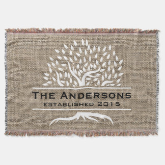 Vintage Tree Rustic Burlap Family Name Established Throw Blanket