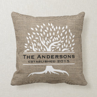 Vintage Tree Rustic Burlap Family Name Established Throw Pillow