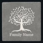 "Vintage Tree Rustic Chalkboard Family Name Stone Coaster<br><div class=""desc"">Vintage Tree Rustic Chalkboard Family Name Stone Coaster.</div>"