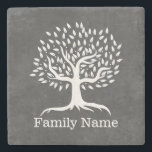 "Vintage Tree Rustic Chalkboard Family Name Stone Coaster<br><div class=""desc"">Vintage Tree Rustic Chalkboard Family Name Stone Coaster.</div>"