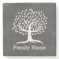 Vintage Tree Rustic Chalkboard Family Name Stone Coaster