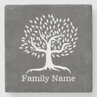 Vintage Tree Rustic Chalkboard Family Name Stone Coaster