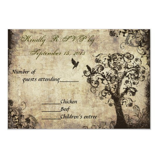 Vintage Tree Wedding RSVP with Green Text Card