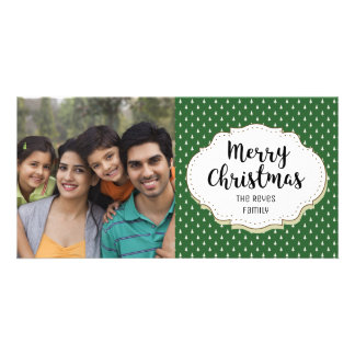 Vintage Trees Pattern Christmas Picture Photo Card