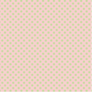 Vintage Trendy Baby Pink Green Polka Dots Pattern Cutout
