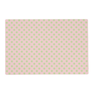 Vintage Trendy Baby Pink Green Polka Dots Pattern Placemat