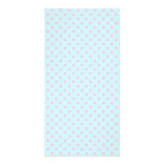 Vintage Trendy Baby Pink White Polka Dots Pattern Customized Photo Card