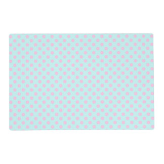 Vintage Trendy Baby Pink White Polka Dots Pattern Placemat