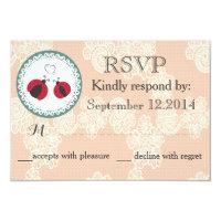 Vintage trendy lace ladybugs in love wedding RSPV Card (<em>$1.96</em>)