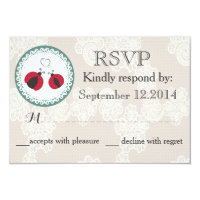 Vintage trendy lace ladybugs in love wedding RSPV 3.5x5 Paper Invitation Card (<em>$1.96</em>)