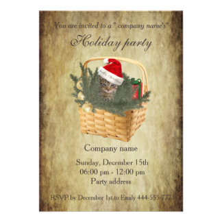 Vintage trendy Santa cat holiday party corporate Card