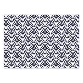 Vintage Trendy Seigaiha Japanese ocean pattern Business Card Template