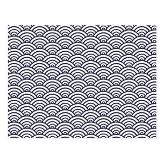 Vintage Trendy Seigaiha Japanese ocean pattern Post Cards