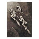 Vintage tres brujas de Halloween que vuelan las es Felicitaciones
