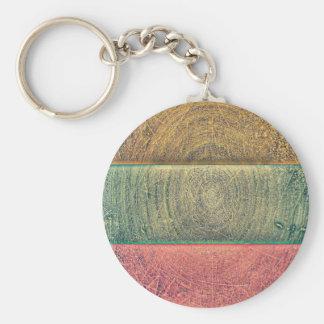 Vintage Tri Colored Grunge Pattern Key Chain
