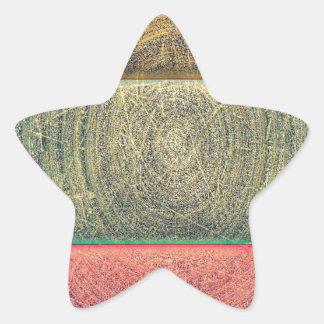 Vintage Tri Colored Grunge Pattern Star Sticker