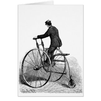 Vintage Tri-cycle Victorian Three Wheel Bicycle Stationery Note Card