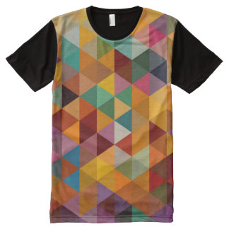 Vintage Triangles Pattern Background. All-Over Print T-shirt