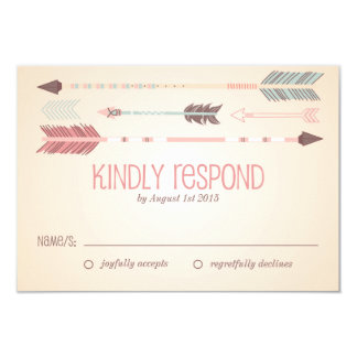 "Vintage Tribal Arrows Wedding RSVP Card 3.5"" X 5"" Invitation Card"