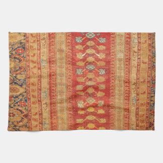 Vintage Tribal Diamonds Pattern Red Hand Towels