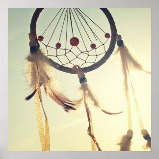 Vintage Tribal Hipster Dream Catcher Ornament Poster