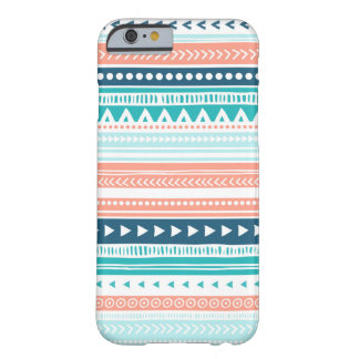 Vintage Tribal Stripes Pattern Coral Blue Teal Barely There iPhone 6 Case