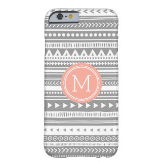 Vintage Tribal Stripes Pattern Grey Peach Monogram Barely There iPhone 6 Case