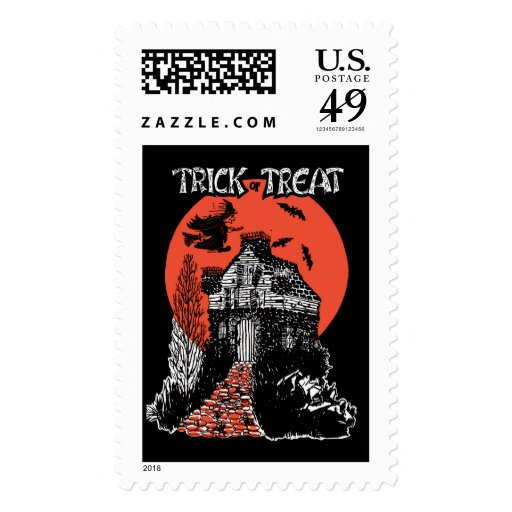 Vintage Trick or Treat Witch and Haunted House Stamps