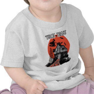 Vintage Trick or Treat Witch and Haunted House Tshirt