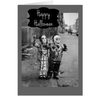 Vintage Trick-or-Treaters Halloween Card