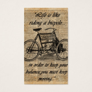 Vintage Tricycle Dictionary Art Bicycle Quote Business Card