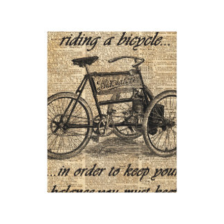 Vintage Tricycle Dictionary Art Bicycle Quote Canvas Print